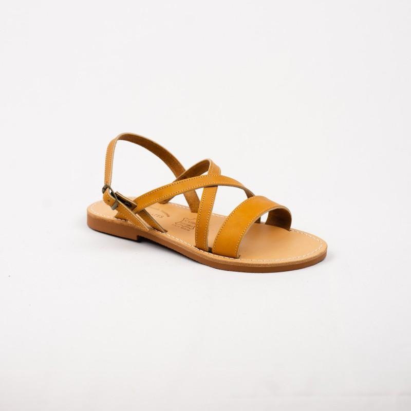 Sandale Croisic en Cuir Couleur Naturelle / Semelle Caoutchouc