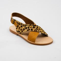 Sandales Lucia naturel et léopard / Semelle Caoutchouc