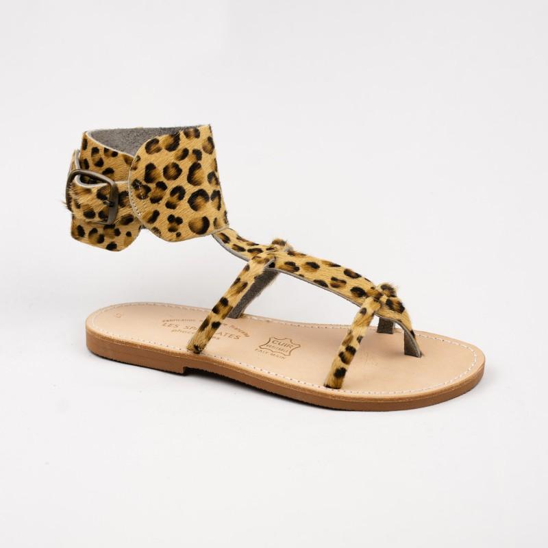 Sandales Alicia couleur léopard / Semelle Caoutchouc