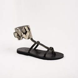 Sandales Alicia couleur noir perla/cobra / Semelle Caoutchouc