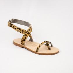 Sandales Flavia couleur léopard / Semelle Caoutchouc