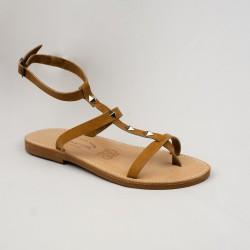 Sandales Stella clouté avec couleur naturel / Semelle en Caoutchouc