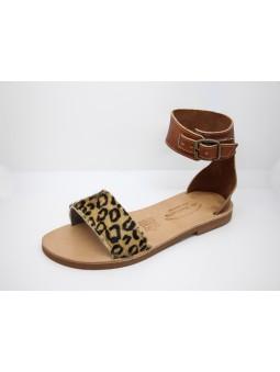 Sandales Havana en Cuir Couleur Renard et Leopard / Semelle Caoutchouc